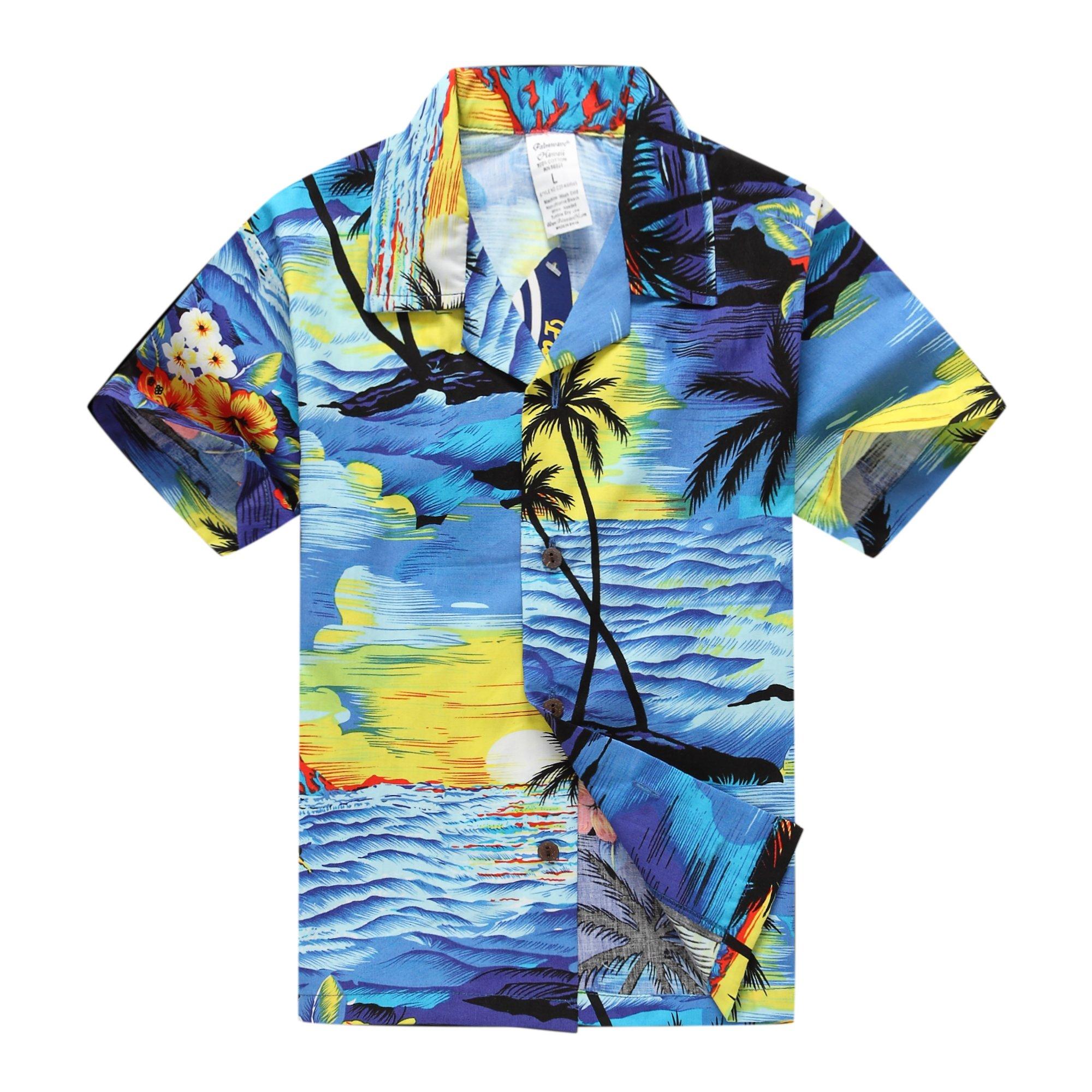 066d36a3 Get Quotations · Palm Wave Boy Hawaiian Aloha Luau Shirt and Shorts 2 Piece  Cabana Set In Blue Sunset