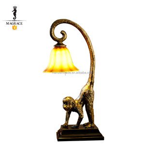 Wholesale desk table lamp, glass shade Indoor Decorative table lamp, African style monkey table lamp