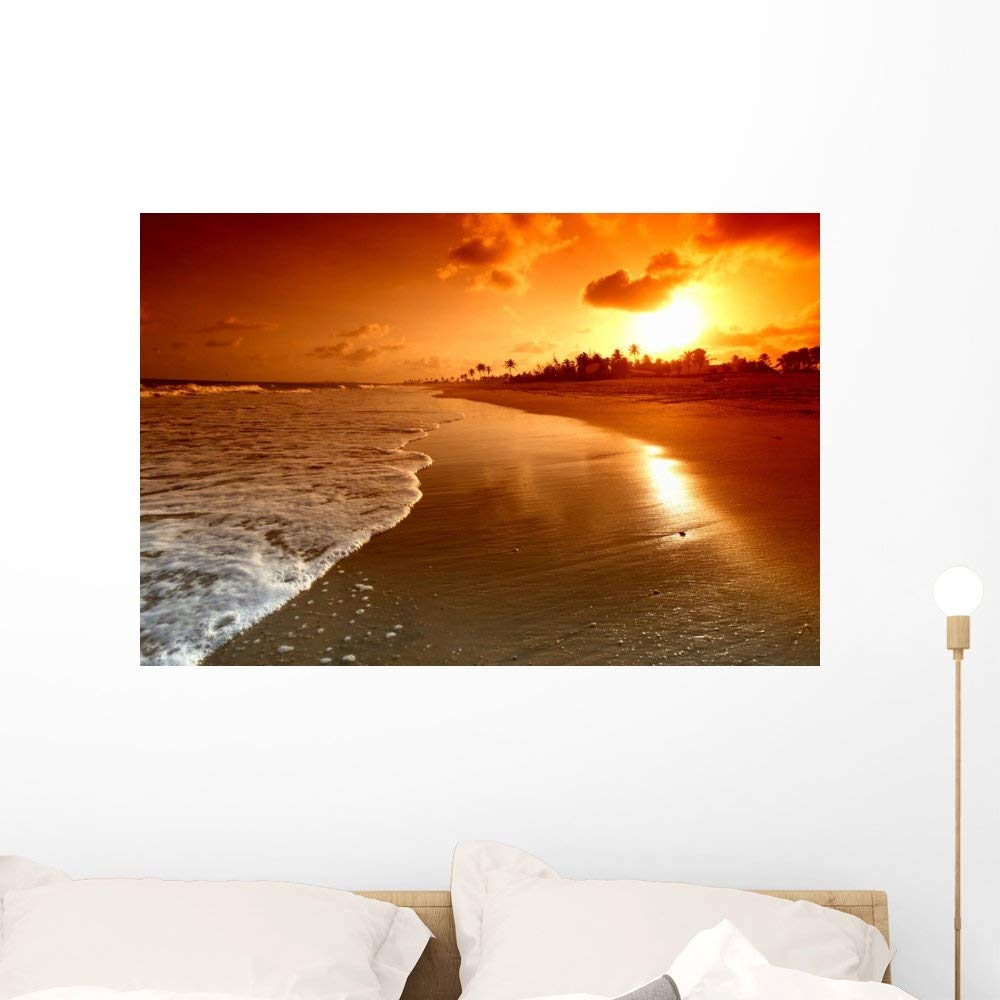 Wallmonkeys Ocean Sunrise Wall Mural Peel and Stick Graphic (36 in W x 24 in H) WM335211