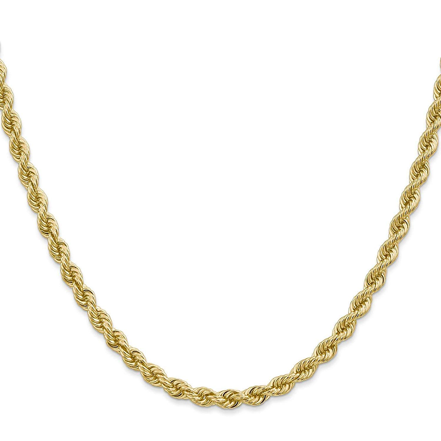 "14k Yellow Gold 4.0mm Solid Rope Chain Necklace Bracelet Anklet 7"" - 30"""