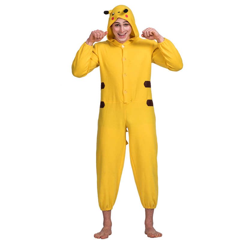 adults funny animal Pikachu cosplay costume for party unisex velvet  jumpsuit costume f115d08bb