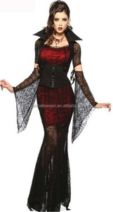 Womens Long Gothic Spider Witch Vampire Countess Fancy Dress Halloween Costume AGC4266