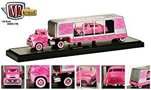 New 1:64 Auto-Haulers Collectibles RELEASE 17B - PINK 1956 FORD C-500 COE & 1949 MERCURY CUSTOM Diecast Model Car By M2 Machines