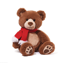 Custom christmas plush teddy bear with scarf