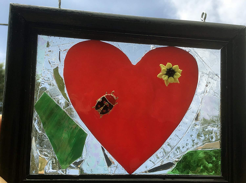 Ladybug red heart stained glass sun catcher window art