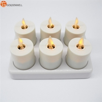 Christmas Decoration Home Flameless Moving Wick Candles Rechargeable Tea Light Led Candle Remote Control Set of 6