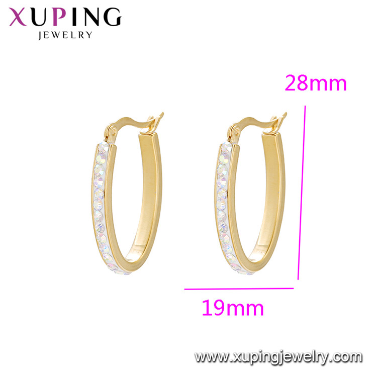 E-582 XUPING stainless steel 24 천개 금 plated 또 귀걸이랑 후프, mini stainless 석 장식 못 패션 hoop earring 대 한 women