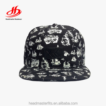 12a61f15b875f Custom 5 panel hat cotton printing watermelon snapback hats with leather  patch