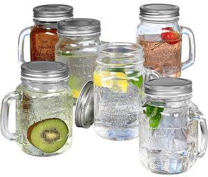 Mason Glass Jar with Handle & Straw for juice cola and tea