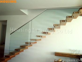 barandilla de vidrio para la escalera con abrazadera de cristal flotante diseo de lujo