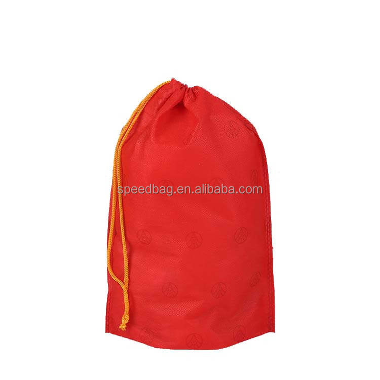 plain color nonwoven recycle custom drawstring bag with printed logo