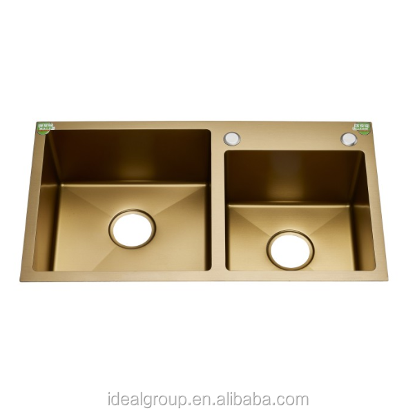 Newest gold color double bowl stainless steel handmade kitchen sink