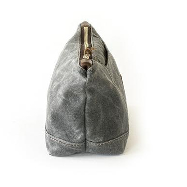 Gray Waxed Canvas Large Personalized Toiletry Bag,Waxed Canvas Cosmetic Bag