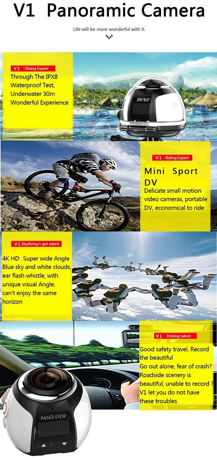 SE-V1 HD 30fps 4K Waterproof Mini DV Player sport Wireless 360 Degree Panoramic Camera Lens Action Sports Vr Mode 3D