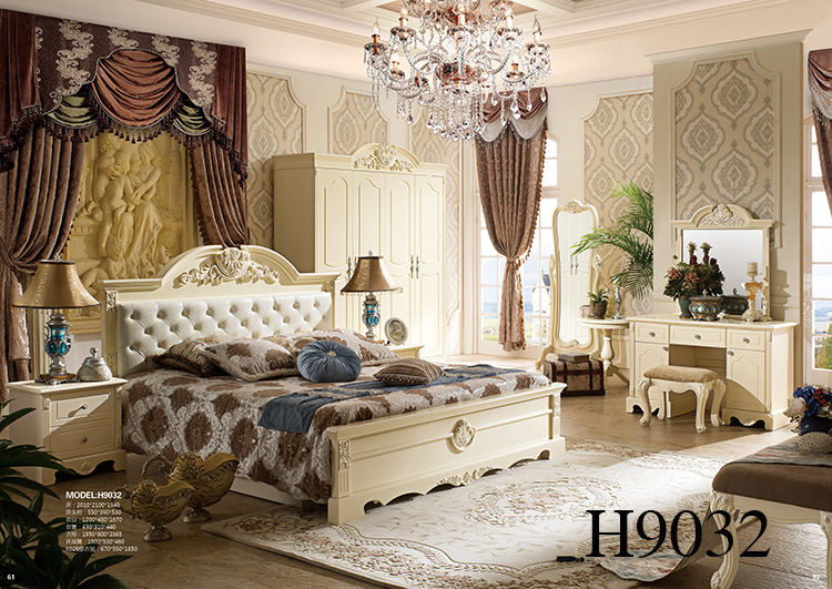 Most popular antique Luxury King Size Wood Bedroom Furniture set/french style bed
