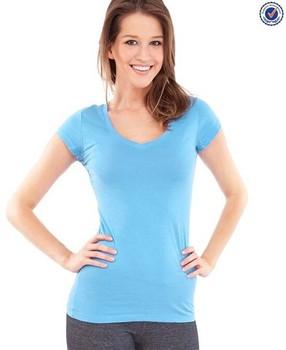 cfc844889d9 Ladies Light Blue Plain Round V-neck 93 Cotton 7 Spandex T Shirts ...
