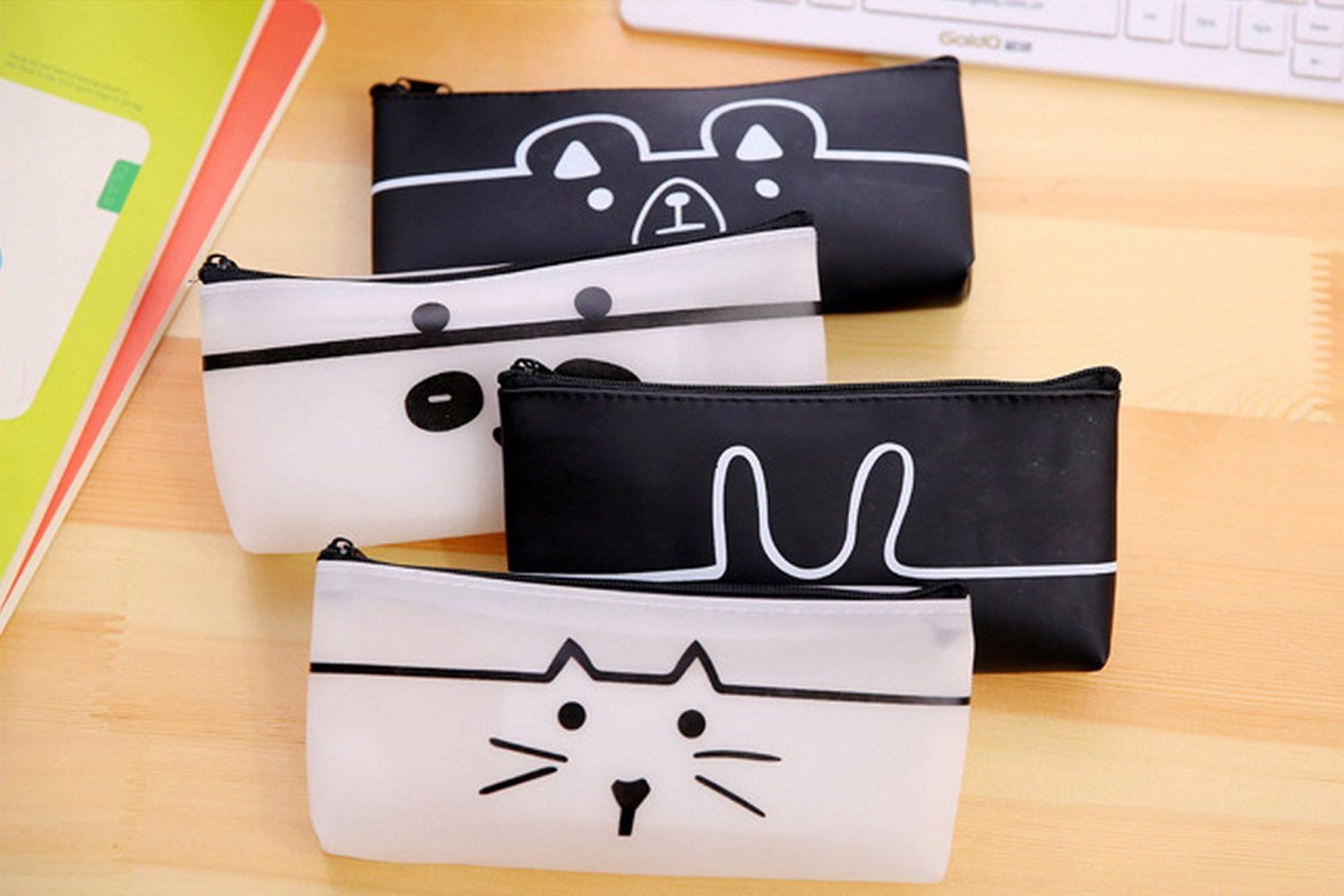 4 Pack Lovely Animal Multi-Fuctional Pencil-Pen Case Bag Pounch Cosmetic Makeup Bag Case-Cool Bear Rabbit Cat Panda style Cute & Practical Pencil Holder (Black & White Color)