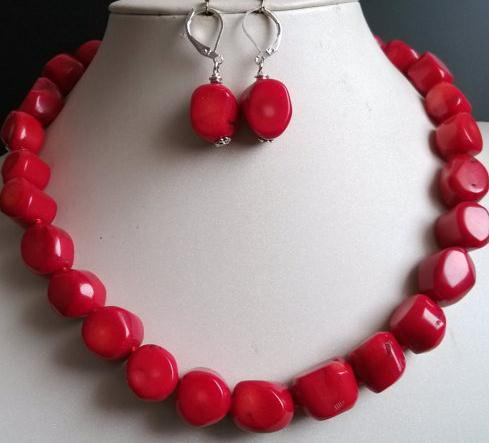 Charming Coral Jewelry Set Red Coral Necklace Earrings Jpg