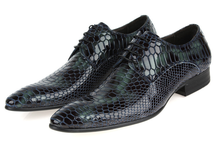 GRIMENTIN 2015 Spuer cool Serpentine fashion mens dress party shoes genuine leather snake skin style Black flats size:6-10 #772