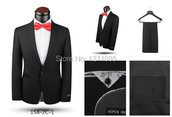 2015 new arrival suit for men dropship single-breasted italian slim suits brand black business suits with pants