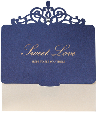 European Blue Laser Wedding Invitations