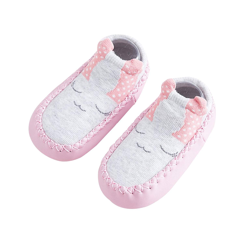 5545ab095 Baby Girls Boys Cute Animal Slipper Socks Cartoon Anti Slip Leather Sole  Socks