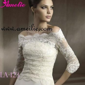 Off Shoulder Long Sleeve Lace Bridal Jackets - Buy Lace Bridal ...