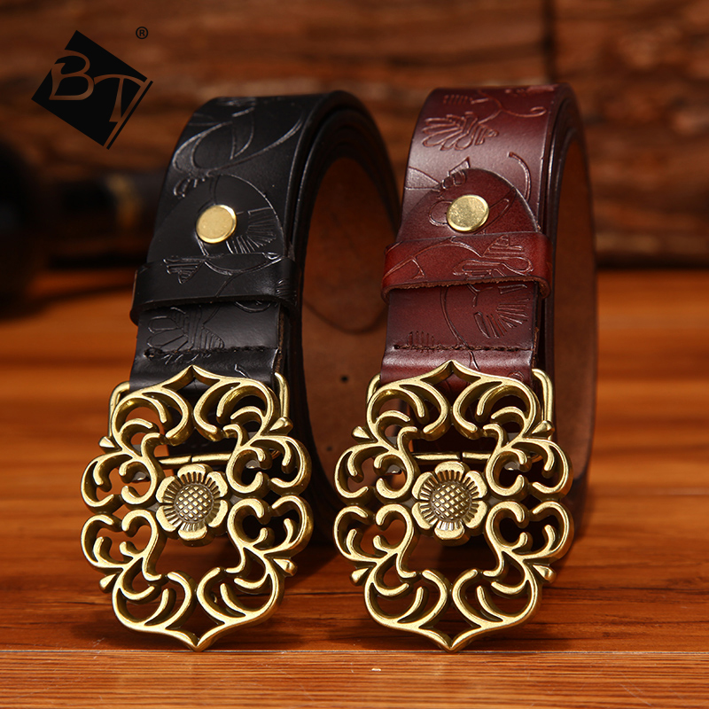 BT Free Shipping Wholesale Customized Vintage Genuine Leather Embossed Women Waist <strong>Belts</strong> With Brass Buckle