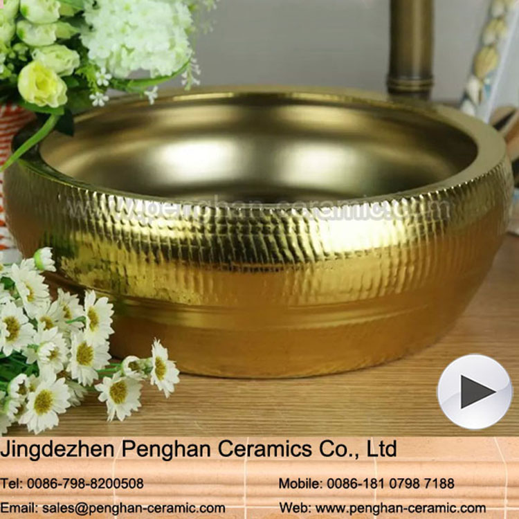 Chinese vanity home/hotel/outdoor golden ceamic Over Counter Wash Basin