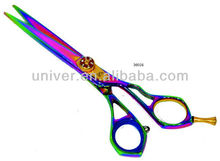 New Design Stylish Rainbow Colors Stainless Steel Straight Barber Scissor with Golden Diamond Adjustable Srew