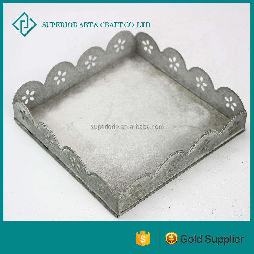 Countryside Style Rectangular Metal Tray For Candle Holder Wholesale