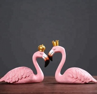 Wholesale Custom Mini Polyresin Animal Craft Home Decorative Wedding Favors Gifts Party Souvenir Couple Pink Flamingo