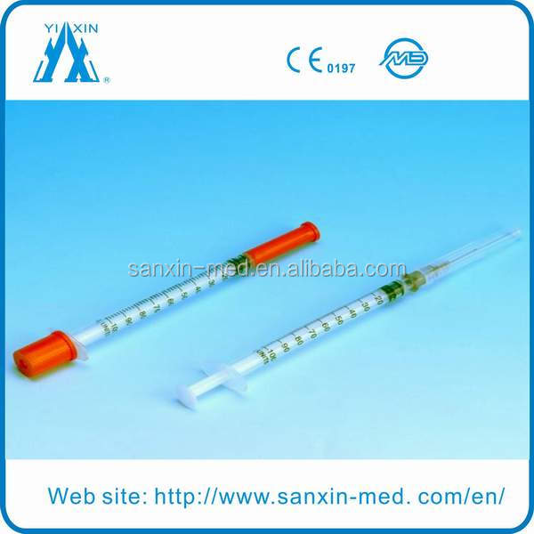 Free sterile medical 0.5ml insulin syringe with needle