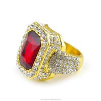 Men gold color Hip Hop Iced out Red Stone Cz bling Ring Made with Crystals from Swarovski