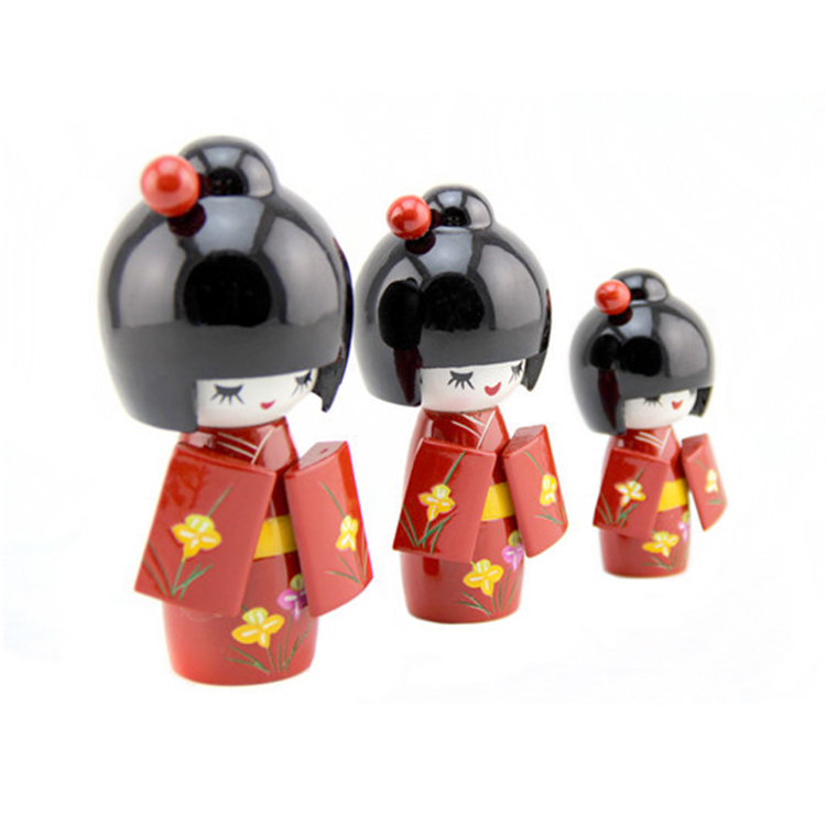 FQ brand festival antique toy beautiful handmade craft wooden kokeshi doll