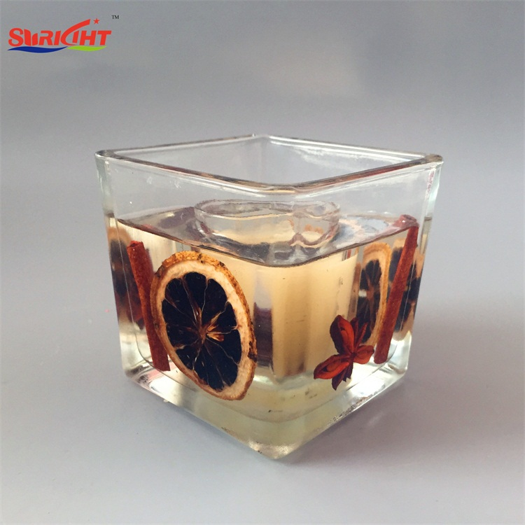 Art Dry Flowers Crafts Oil Jelly Gel Square Glass Holder Candles