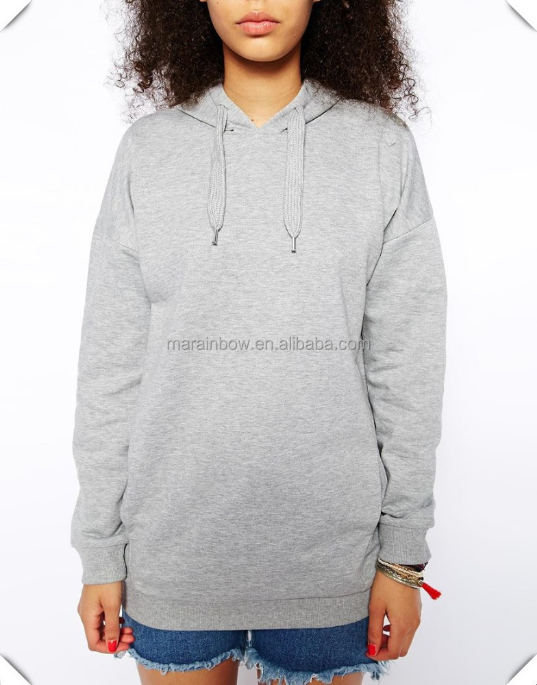 China Supplier Blank Design Grey Cotton French Terry Long Hoodie ...