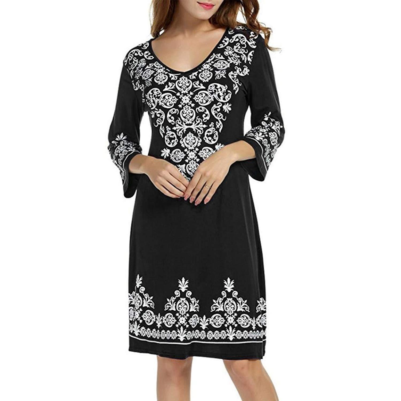 Women Dress,Clearance 3/4 Sleeve Casual Dress Flowy Print Swing T-Shirt A-Line Tunic Dress