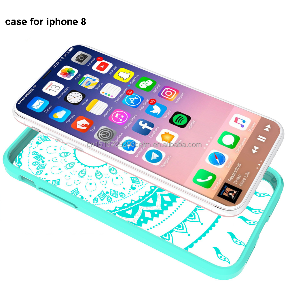Hot selling high quality Painting acrylic Crystal Phone Case for iphone8, TPU border color creative soft shell protective sleeve