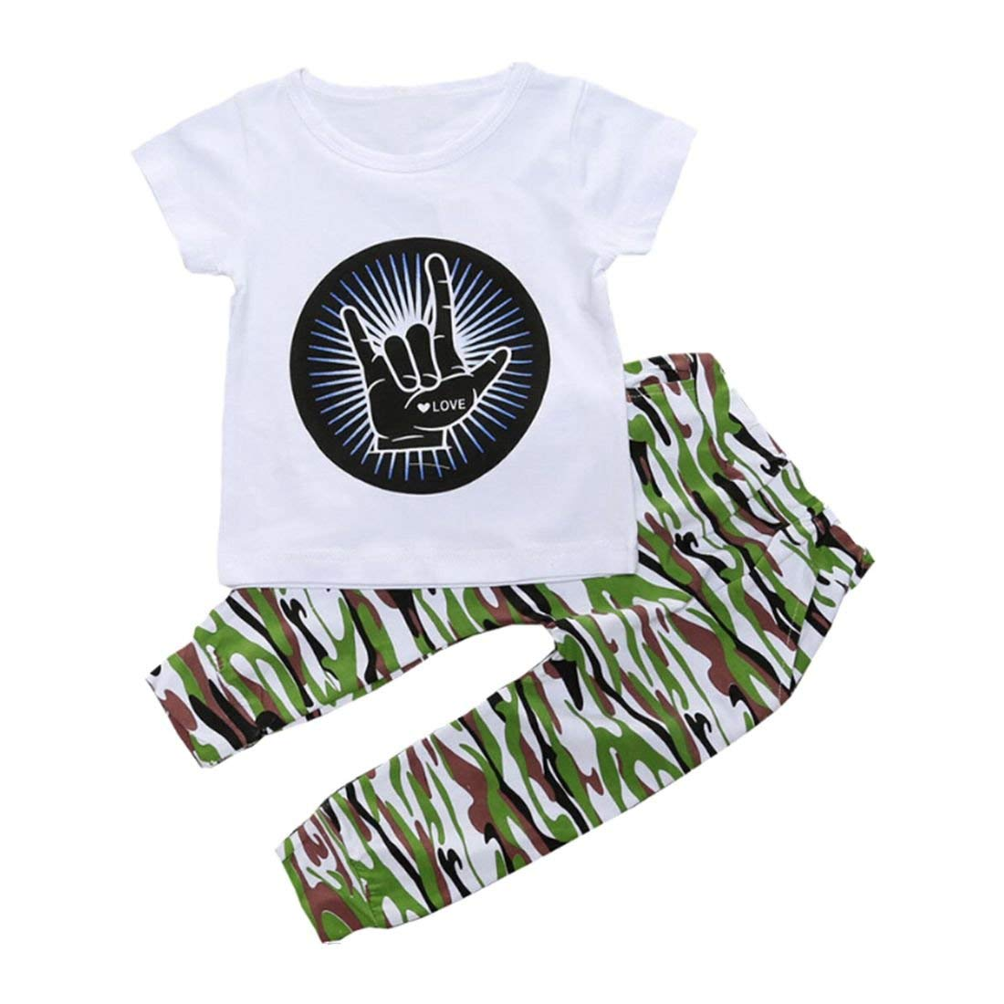 09571631edd8 Get Quotations · SODIAL Casual Toddler Baby Kids Boys Clothes t T-Shirt  Tops Camouflage Pants Outfits