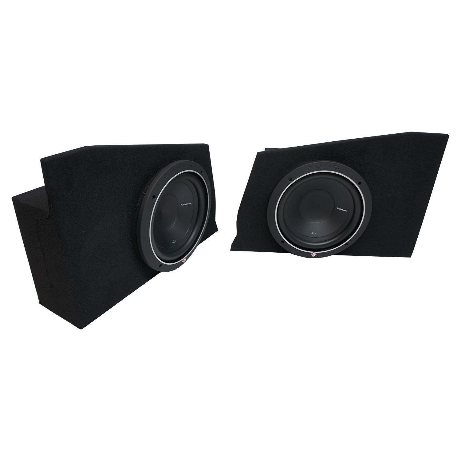 """2010-2015 Chevy Camaro Coupe Rear Side Rockford Punch P1S410 Dual 10"""" Sub Box Enclosure - Final 2 Ohm"""