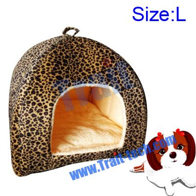 Leopard Print Yurt Style Dog Cat Bed Indoor House Kennel Folding Pet Tent With Plush Mat Pad ( Size: L)