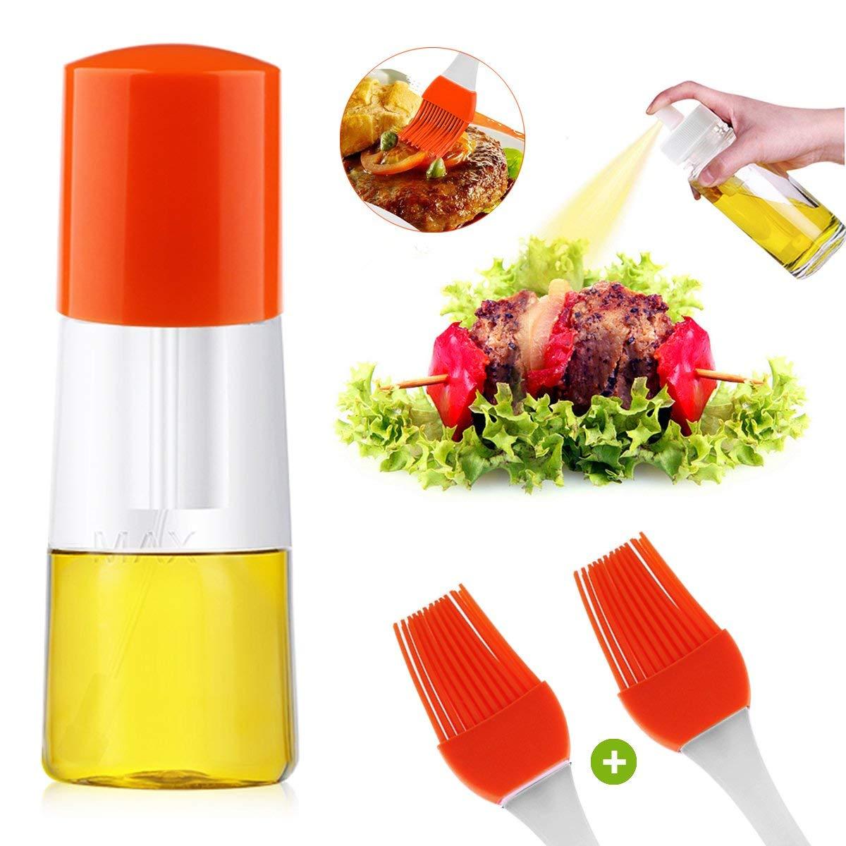 Olive Oil Sprayer,Pump Oil Misting Food-grade Bottle Vinegar Bottle Oil Dispenser for BBQ, Making Salad,Cooking,Baking, Roasting, Grilling, Frying (Orange 01)