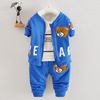 Top sell 3 pieces of little bear western style kids clothes set child clothing boy set