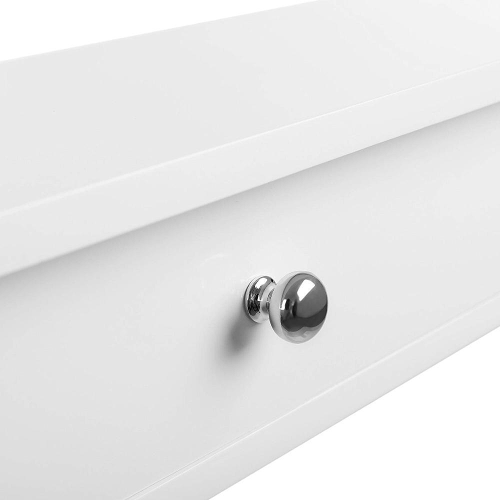 Floating Wall Shelf with 2 Drawers Hallway Storage Shelf MDF White