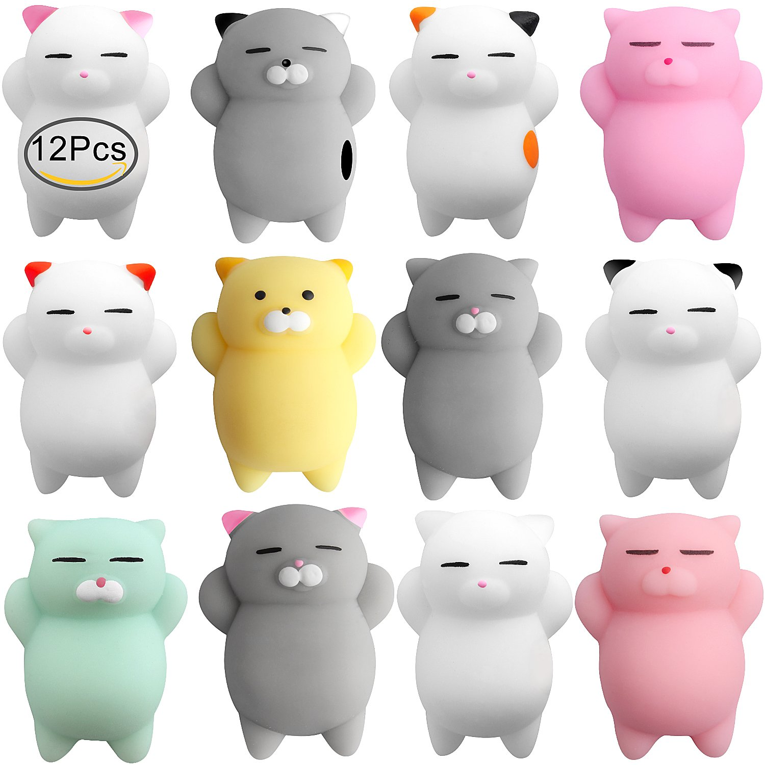 Mochi Stress Cat Toys, Outee 12 Pcs Mini Squishies Mochi Animal Cat Squishy Mochi Squishy Stress Relief Animals Squihsy Squeeze Stress Cat Toys Mochi Squeeze Squishies