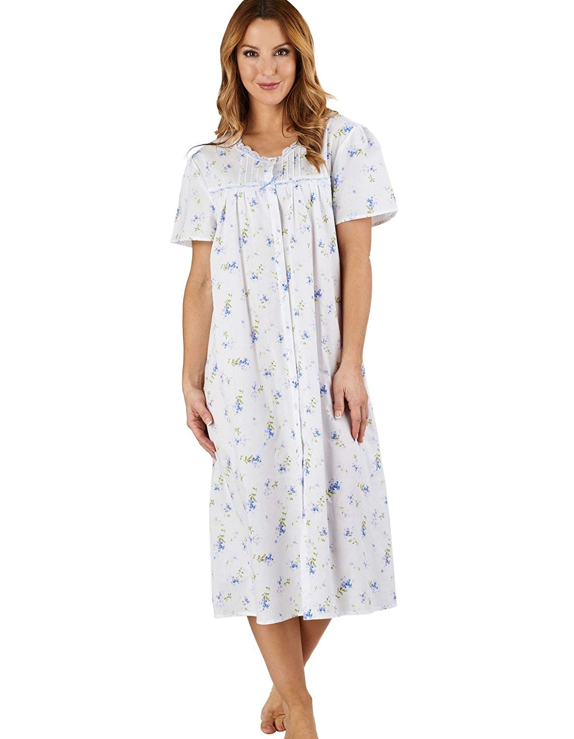 8915496ec081 Get Quotations · Slenderella ND1208 Women's Floral Blue 100% Cotton Night  Gown Nightdress