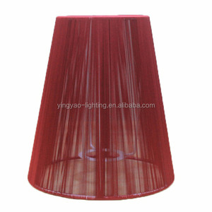 victorian cheap red color silk thread lampshades wholesale for table lamp