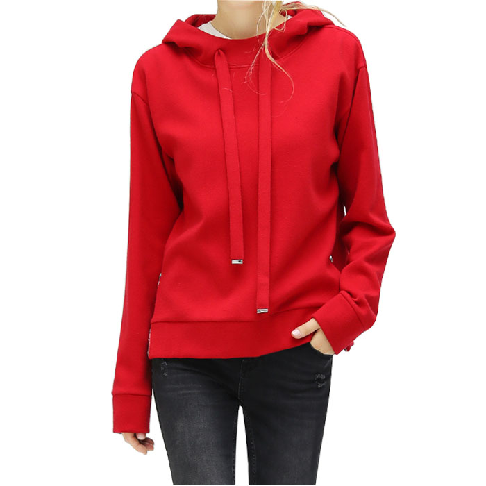 OEM (High) 저 (Street Western Cute Sweet Loose 풀 오버 니트 두건을 쓴 측 Slip Zipper Women's Red Hoodie