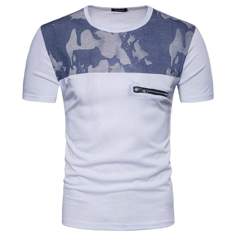 Caopixx Mens Tops, Men's Casual Print O Neck Short Sleeve Tee Patchwork Pullover Zipper T-Shirt Top Blouse 2018